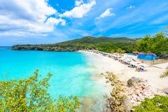 Playa de Grote Knip, Curaçao, Antillas holandesas - playa del paraíso imagenes de archivo