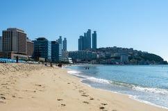 Playa de HaeUnDae en Busán en Corea Foto de archivo libre de regalías