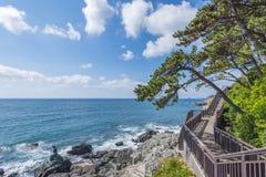 Playa de HaeUnDae en Busán en Corea Fotos de archivo libres de regalías