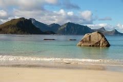 Playa de Haukland, Lofoten foto de archivo