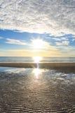 Playa de Hua Hin de la mañana de la luz del sol Fotografía de archivo