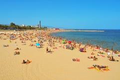 Playa de Icaria de la Nova del La, en Barcelona, España Imágenes de archivo libres de regalías