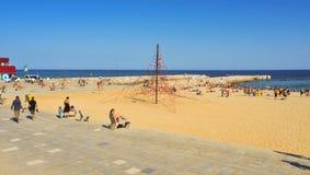 Playa de Icaria de la Nova del La, en Barcelona, España fotos de archivo libres de regalías