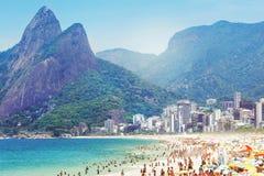 Playa de Ipanema en Rio de Janeiro, el Brasil Fotografía de archivo