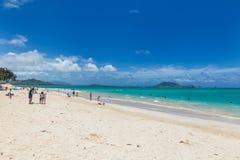 Playa de Kailua con agua hermosa de la turquesa en la isla de Oahu fotos de archivo libres de regalías