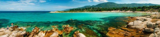 Playa de Karidi en Vourvourou, Sithonia, Grecia Fotos de archivo libres de regalías