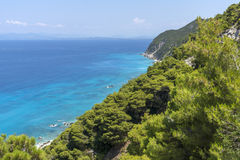 Playa de Kokkinos Vrachos, Lefkada, islas jónicas Imágenes de archivo libres de regalías