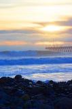 Playa de la última hora de la tarde Imágenes de archivo libres de regalías