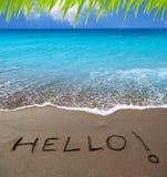 Playa de la arena de Brown con palabra escrita hola Foto de archivo