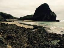 Playa de la arena del negro de Piha - Nueva Zelanda Fotografía de archivo