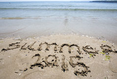 Playa de la arena del verano 2015 Fotografía de archivo