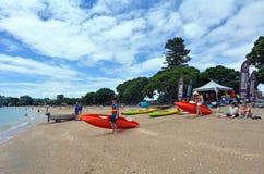 Playa de la bahía de la misión en Auckland Nueva Zelanda Fotografía de archivo libre de regalías