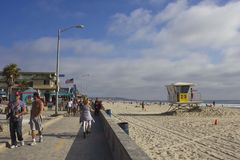 Playa de la bahía de la misión en San Diego Fotos de archivo libres de regalías