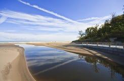 Playa de la cañería del parque de estado de las dunas de Indiana Fotografía de archivo libre de regalías