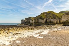 Playa de la cabeza de Flamborough, montar a caballo del este de Yorkshire, Reino Unido fotos de archivo libres de regalías