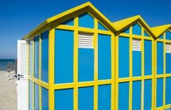Playa de la cabina en Rímini, mar adriático Foto de archivo libre de regalías