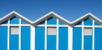 Playa de la cabina en Rímini, mar adriático Fotos de archivo