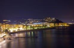 Playa De La Caletilla di notte, Almunecar, Andalusia Immagini Stock Libere da Diritti