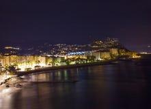 Playa De La Caletilla di notte, l'Andalusia Fotografia Stock Libera da Diritti