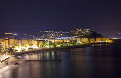 Playa De La Caletilla by night, Almunecar, Andalusia Royalty Free Stock Images