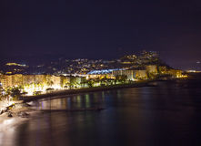 Playa De La Caletilla by night, Andalusia Royalty Free Stock Photography