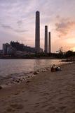 Playa de la central eléctrica Imagen de archivo libre de regalías