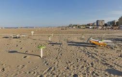 Playa de la ciudad de Sandy en Rímini, Italia Fotografía de archivo libre de regalías