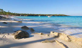 Playa de la isla Catalina - karibiskt tropiskt hav Arkivfoton