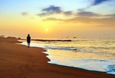Playa de la madrugada Imagen de archivo libre de regalías
