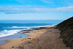 Playa de la playa y un acantilado fotografía de archivo