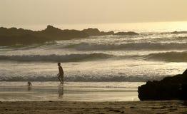 Playa de la puesta del sol Imagen de archivo