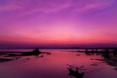 Playa de la puesta del sol Foto de archivo