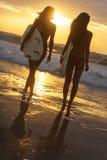 Playa de la puesta del sol de las muchachas y de las tablas hawaianas de la persona que practica surf del bikini de la mujer Imagen de archivo