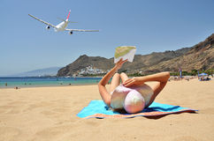 Playa de la Teresitas. Tenerife kanariefåglar Royaltyfri Bild