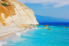 Playa de Lalaria, Skiathos, Grecia Imagenes de archivo