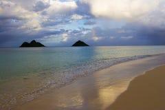 Playa de Lanikai en la última hora de la tarde fotografía de archivo