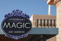 Playa De Las Americas, Tenerife, Canary Islands, Spain - April 12, 2017. Magic Cafe and Lounge Bar situated at the entrance of Piramide de Arona Convention Royalty Free Stock Images