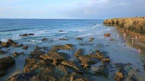 Playa de las Catedrales - Beautiful beach in the north of Spain stock video