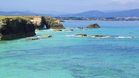 Playa de las Catedrales - Beautiful beach in the north of Spain stock video footage