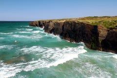 Playa de Las Catedrales en Ribadeo en España imagen de archivo libre de regalías