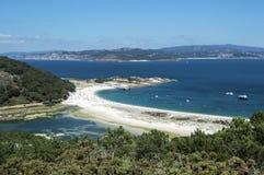 Playa de las Islas Cies do ponto de vista Imagens de Stock Royalty Free
