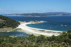 Playa de las Islas Cies from the viewpoint Royalty Free Stock Images