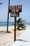 Playa de las personas que practica surf Imágenes de archivo libres de regalías