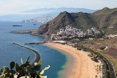 Playa de Las Teresitas. A famous beach near Santa Cruz de Tenerife in the north of Tenerife, Canary Islands, Spain Stock Images
