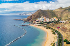 Playa de las Teresitas beach and San Andres village, Tenerife. Canary islands, Spain Stock Photography