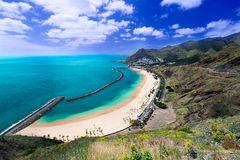 Playa de Las Teresitas general view. Playa de Las Teresitas, a famous beach near Santa Cruz de Tenerife in the north of Tenerife, Canary Islands, Spain Stock Image