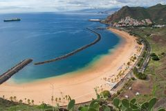 Playa de Las Teresitas, isole Canarie di Tenerife, Spagna immagine stock