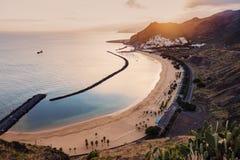 Playa de Las Teresitas on Tenerife at sunset Stock Photo