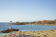Playa de Las Vistas παραλία στο Los Cristianos, Tenerife, Ισπανία Στοκ φωτογραφίες με δικαίωμα ελεύθερης χρήσης