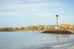 Playa de Las Vistas beach in Los Cristianos, Tenerife, Spain Royalty Free Stock Images